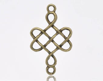 Bronze Chinese knot pendant connector