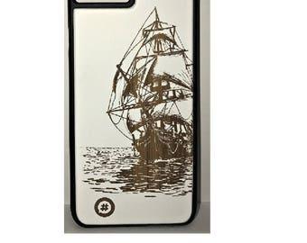 iphone 6/7 wood engraved sailing boat