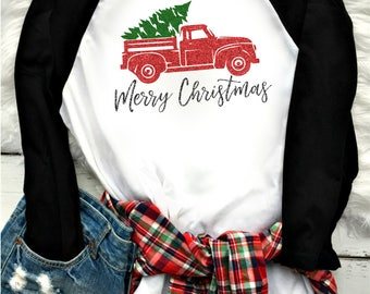 Merry Christmas truck shirt- FREE SHIPPING - glitter- christmas truck- womens christmas shirt - christmas gift  - raglan style