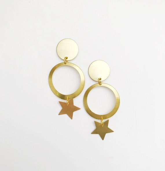 Brass Geometric Star Drops