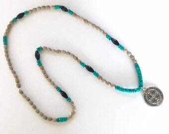 Large Beige & Turquoise Bead Necklace