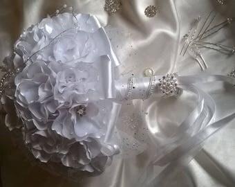 bridal bouquet fabric way kanzashi white satin ribbon, glitter tulle and rhinestones