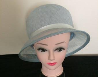 Bucket style Wedding hat in pale Blue