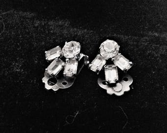 Vintage Crystal clip on Earrings
