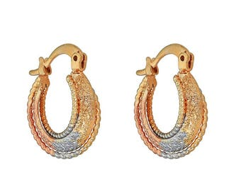 14k Gold Filled Earring with Gorgeous Three Tri Tone Crinkle Design