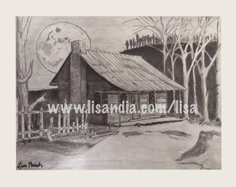Day Cabin. Fantasy Artwork, Print.  Home Decor, Wall Art, Signed by Artist