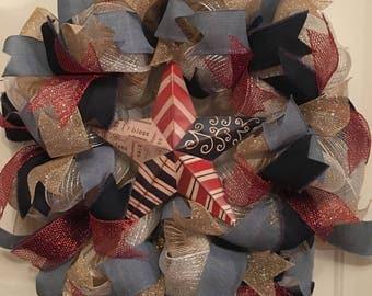 Rustic 18 inch Americana Patriotic Wreath