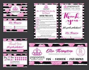 Paparazzi Marketing Bundle, Paparazzi Starter Kit, Pink Heart Glitter Card, Paparazzi cards, Free Personalization, Printable file PP18
