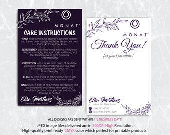 Monat Thank you cards, Monat Care Instruction, Monat Care Card, Fast Free Personalization, Custom Monat Hair Care Card, Printable file MN28