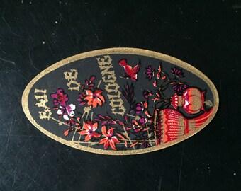 très jolie étiquette ancienne parfumerie, Bali de Cologne, décor Asiatique de fleurs  vase & oiseau, vecchia etichetta di profumo,