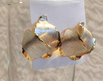 "Cerritos ""Original 1982"" Two Toned Leaf Vintage Pierced Earrings"