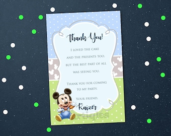 Personalized Baby Mickey Thank You Card First 1st Birthday Party Baby Shower Baby Blue Pastel Green Polka Dots Printable DIY - Digital File