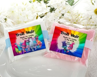 Personalized Troll Hair Rectangular Favor Labels Cotton Candy Favors Sticker Birthday Party Branch Poppy Trolls Printable DIY - Digital File