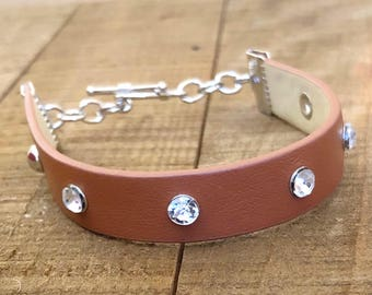 Brown leather and diamond bracelet