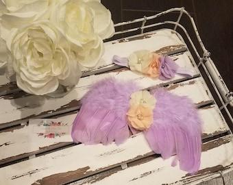SALE!!! Lavender Newborn Angel Wings & Headband, Feather Wings, Photo Prop - SALE 40% OFF