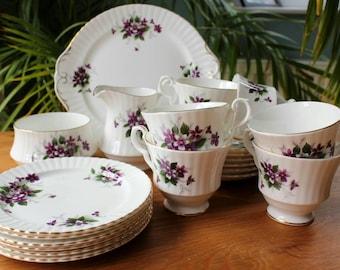 "Royal Windsor Fine Bone China ""Purple Violet"" Tea Set"