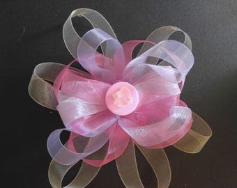 Pink Buttons hair clip