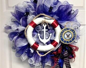 U.S.Navy Deco Mesh Wreath