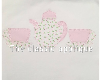 teacups and teapot blanket stitch applique vintage style design file for embroidery