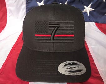 Free personalization, Thin red line hat station Fire fighter blacked out American flag hat, fire cap, custom firefighter gift embroidered