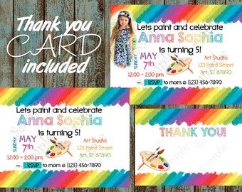 Art Party Invitation, Art Birthday Party Invitation, Paint Invitation, Art Birthday, Painting Party Invitation, Rainbow Art Party Invitation