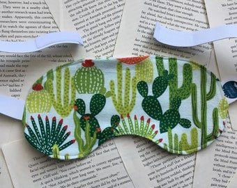 Rice Eye Mask - Cactus/Succulents Flannel Pattern
