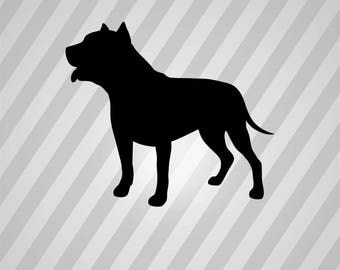 Pit Bull Dog Silhouette - Svg Dxf Eps Silhouette Rld RDWorks Pdf Png AI Files Digital Cut Vector File Svg File Cricut Laser Cut