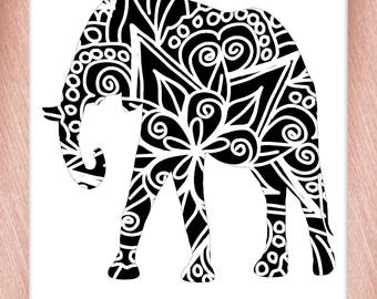 Elephant Papercut Template Mandala Henna - Svg Paper Cut Templates Stencil Line Art Pdf Cut Files Digital Clip Art Drawing