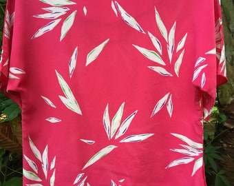 Pink bird of paradise dressy Tshirt blouse