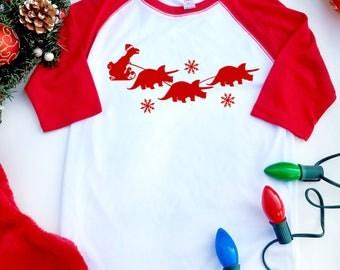 T-Rex Christmas Shirt, T-rex Santa with Triceratops Reindeer Kids Shirt, Funny Christmas T-shirt, Dinosaur Christmas Raglan Tee, Holiday Tee