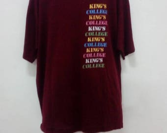 Clearance Sale!! 10% Off!!USD30 Shipped!! Rare !! Vintage 80s King's College T Shirt L Size