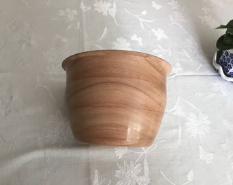 "Fine Spanish Cedar Bowl, this is a Hand Turned cedar Bowl, width 8 1/4"" height 5 1/2 height,This bowl has a food safe finish"