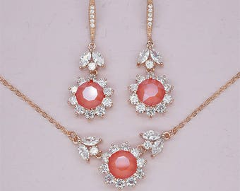Coral Earrings and Necklace Set Bridesmaid Jewelry Set Swarovski Crystal Earrings Rose Gold Jewelry Set Red Crystal Wedding Party Gift