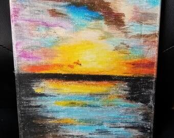 Water Landscape oil pastel art