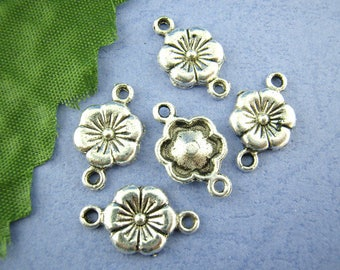 Lot 5 10-18 mm metal flower connectors