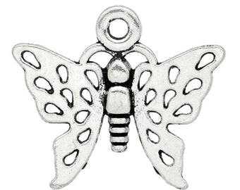 1 charm 20x17mm antique silver Butterfly charm pendant
