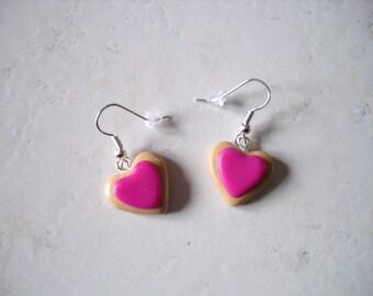 Earrings polymer clay rose heart