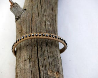 Bracelet Beige leather and rhinestones