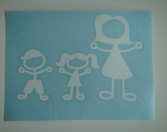 Decal in white vinyl family shiny height 8.1 cm and width 11.6 cm (laying right inside glass)