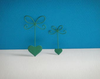 Cut green set of 2 bows hearts for scrapbooking and card
