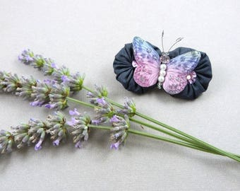 Lavender flowers and silk Nasturtium Butterfly brooch