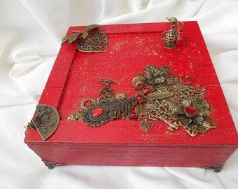 Jewelry box, wood, red jewelry storage, jewelry box jewelry box, red wood, box square box decorated, dragonfly