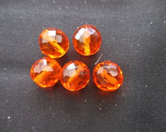 Faceted Bohemian 12 mm: 3 beads 12 mm red topaz