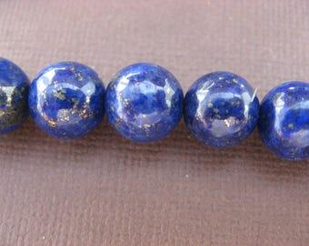 Lapis lazuli: 5 round beads 8 mm - blue semi-precious stone