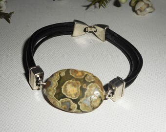 Mens leather multi strand green rhyanite stone bracelet