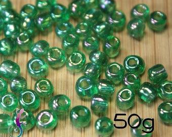 50g 4mm iridescent green glass seed beads