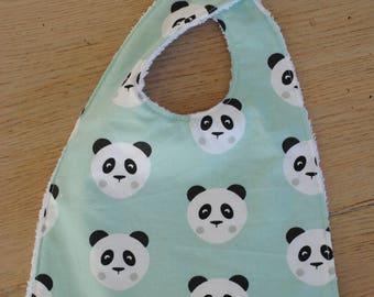 Bib 6-18 months pandas sponge blue white