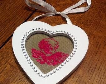 White Rhinestone Heart Angel fuchsia embroidery frame