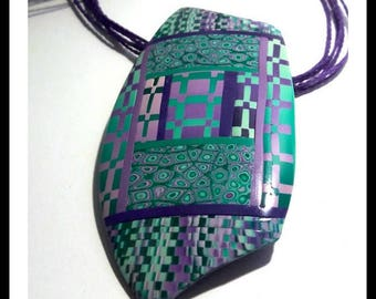 Green and purple graphic pendant in polymer clay (fimo)
