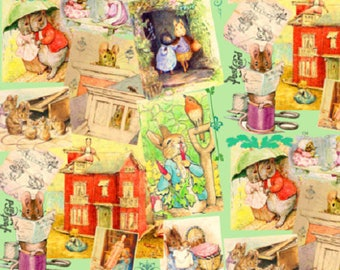 Fabric, Beatrix Potter Peter Rabbit, pink background